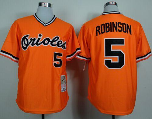 Mitchell and Ness 1975 Orioles #5 Brooks Robinson Orange Throwback Stitched MLB Jersey