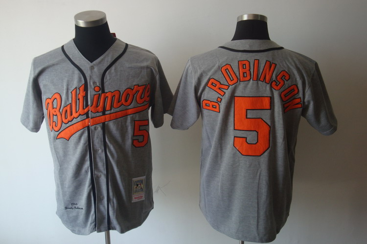 Mitchell and Ness Orioles #5 Brooks Robinson Grey Stitched Throwback MLB Jersey