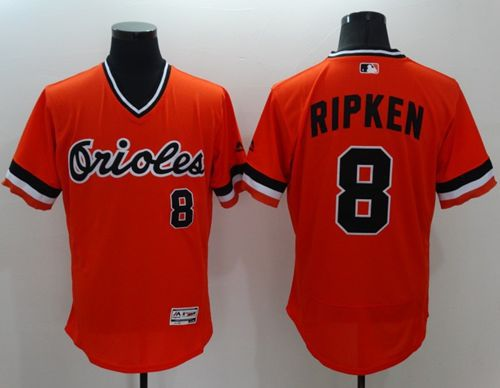 official photos bab97 df12b Orioles #8 Cal Ripken Orange Flexbase Authentic Collection Cooperstown  Stitched MLB Jersey