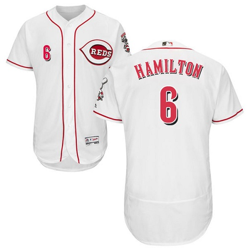 Reds #6 Billy Hamilton White Flexbase Authentic Collection Stitched MLB Jersey
