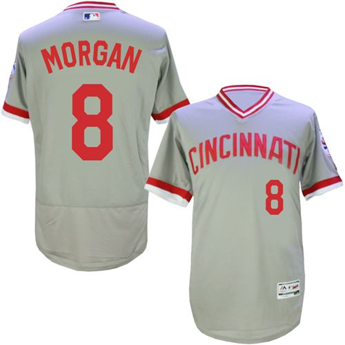 Reds #8 Joe Morgan Grey Flexbase Authentic Collection Cooperstown Stitched MLB Jersey