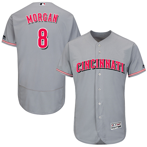 Reds #8 Joe Morgan Grey Flexbase Authentic Collection Stitched MLB Jersey