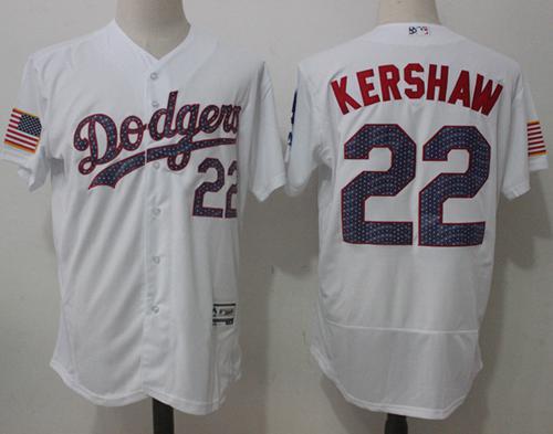 Dodgers #22 Clayton Kershaw White Fashion Stars & Stripes Flexbase Authentic Stitched MLB Jersey