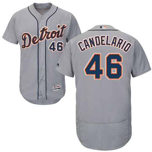 Tigers #46 Jeimer Candelario Grey Flexbase Authentic Collection Stitched MLB Jersey