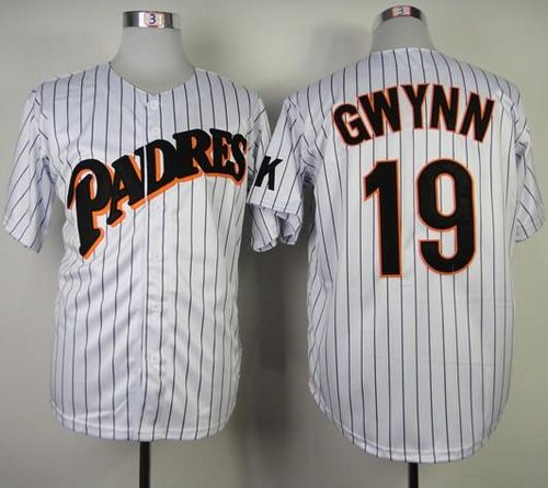 Mitchell and Ness Padres #19 Tony Gwynn White(Blue strip) Stitched Throwback MLB Jersey