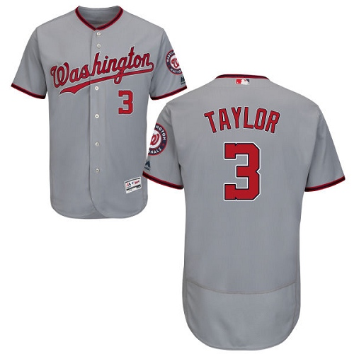 Nationals #3 Michael Taylor Grey Flexbase Authentic Collection Stitched MLB Jersey