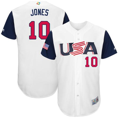 Team USA #10 Adam Jones White 2017 World MLB Classic Authentic Stitched MLB Jersey