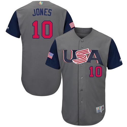 Team USA #10 Adam Jones Gray 2017 World MLB Classic Authentic Stitched MLB Jersey